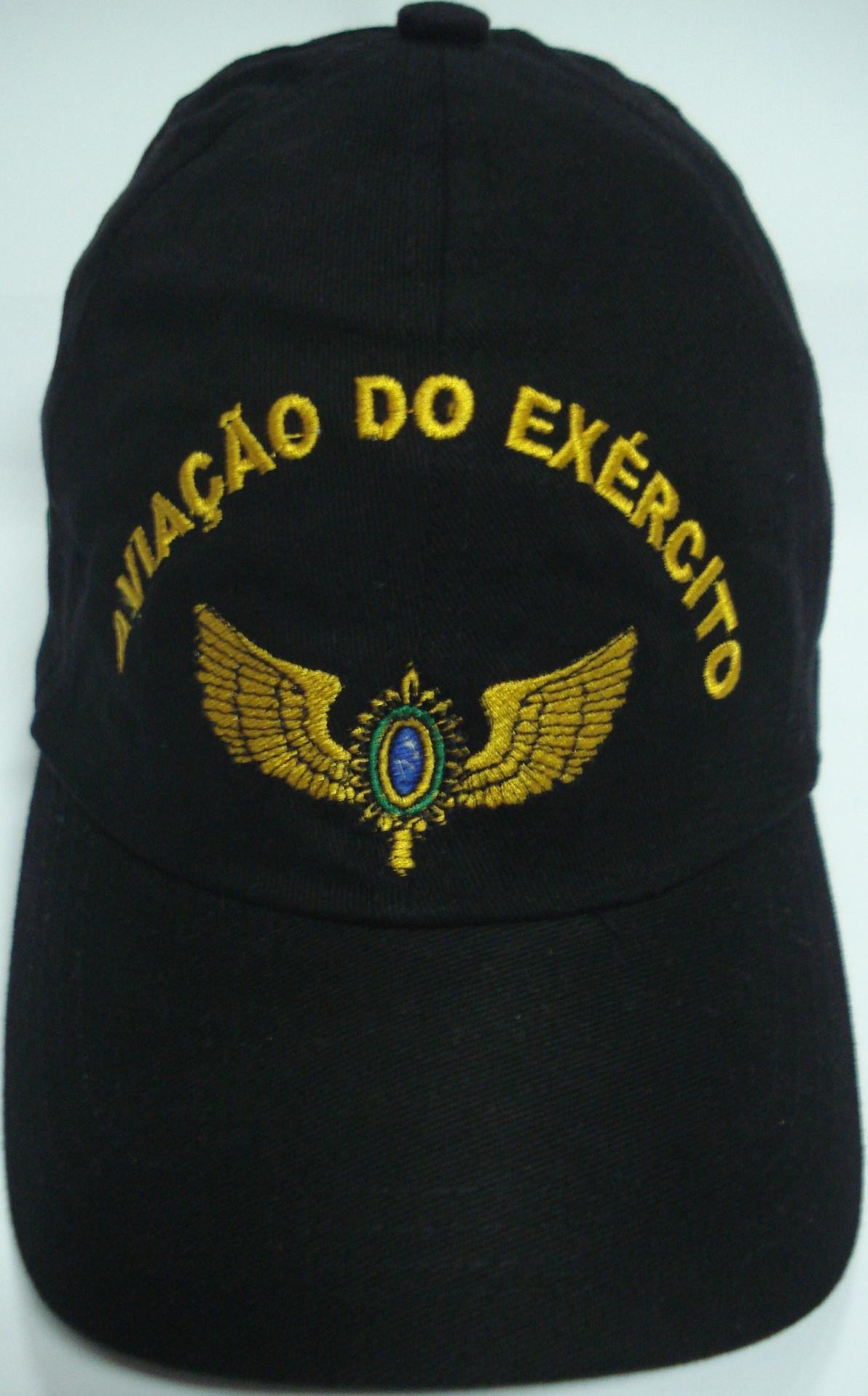 Boné Aviação do Exército Bordado Preto